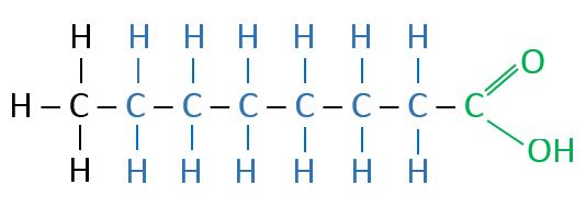 Caprylsäure Valenzstrichformel